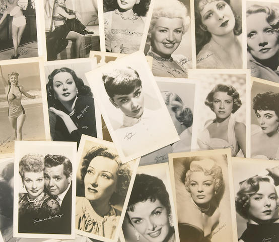 A large collection of 'actress' exhibit cards, 1950s-1960s