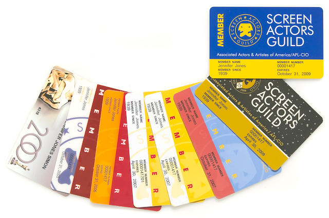 A Jennifer Jones group of SAG and AMPAS identification cards, 2000s