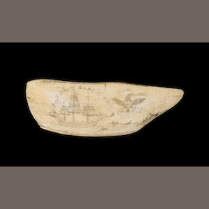 A rare scrimshawed sperm whale's tooth by Stephen C Christian,  American, dated 1832 8 3/4in (22cm long)