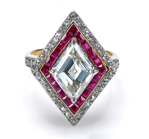 An art deco diamond and ruby ring, Tivol,