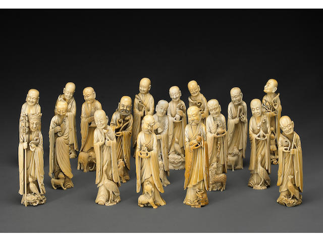 A set of carved ivory eighteen lohan 19th Century