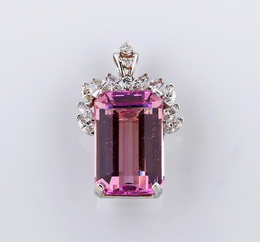 A kunzite and diamond pendant