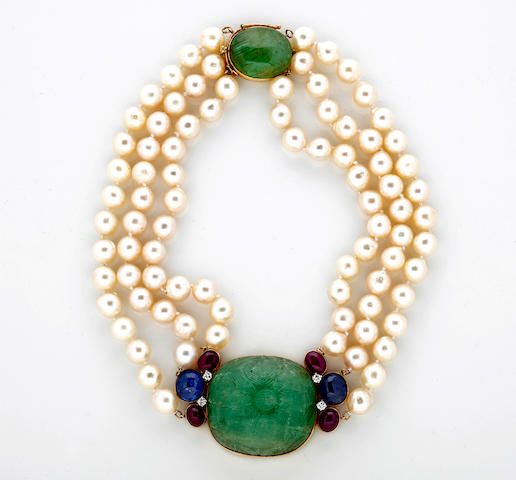 A carved emerald, cultured pearl, ruby, sapphire and diamond necklace, Seaman Schepps