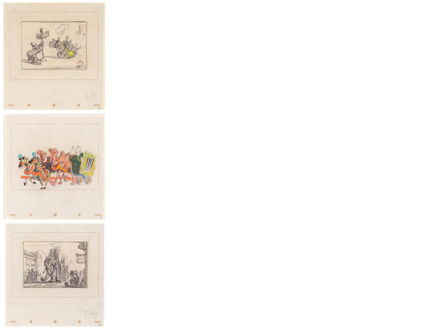 "Three Walt Disney storyboards from ""Dumbo"""