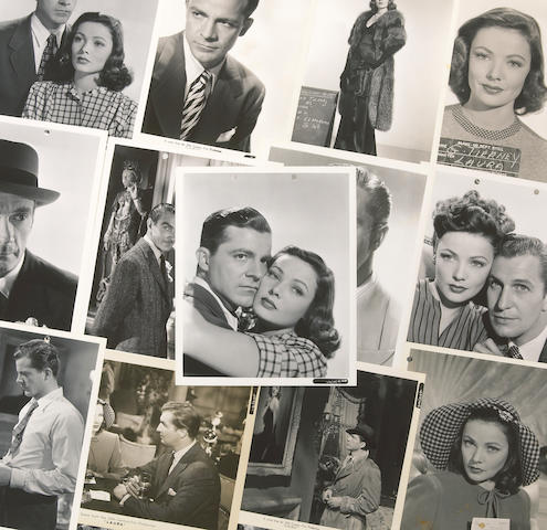 """A collection of black and publicity photographs and film stills from """"Laura"""""""