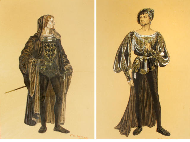 """An Orson Welles (?) costume design sketch by Vittorio Nino Novarese from """"Prince of Foxes"""""""
