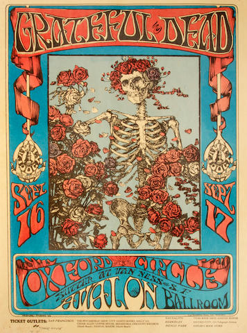 A Grateful Dead first printing concert poster signed by Alton Kelley and Stanley Mouse, 1966