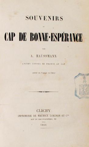 HAUSSMANN, AUGUSTE. Souvenirs du Cap de Bonne-Esperance. Clichy: Maurice Loignon, 1866.