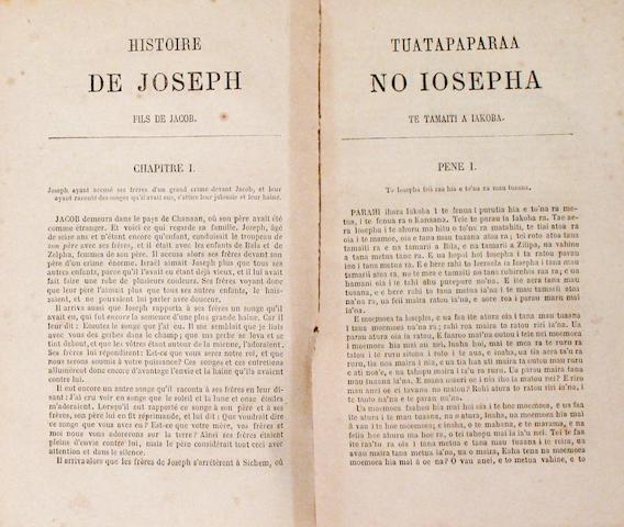 [TAHITIAN SCHOOL BOOK.] Second livre pour les ecoles de Tahiti / E parau piti na te mau haapii raa no roto i te parau iriti tahito hia o te ore i faatitiaifaro hia ra. Saint-Germain-en-Laye: L. Toinon, 1861.