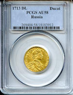 Russia, Peter I The Great (1682-1725) 1713-DL, 1 Ducat, AU58 PCGS