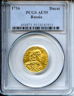 Russia, Peter I The Great (1682-1725), 1716 1 Ducat, AU55 PCGS