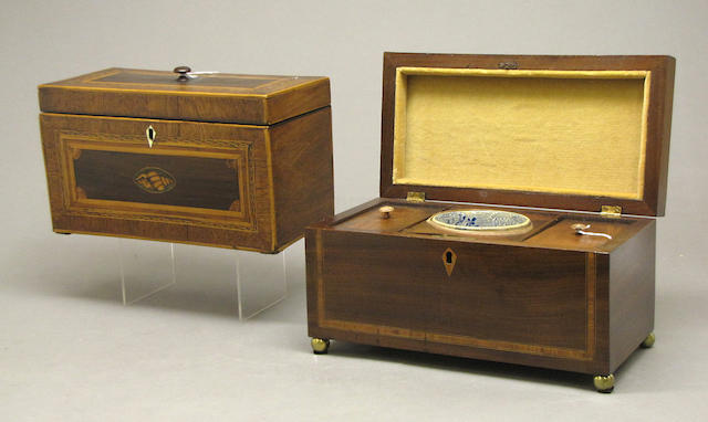 Two George III inlaid mahogany tea caddies late 18th/early 19th century