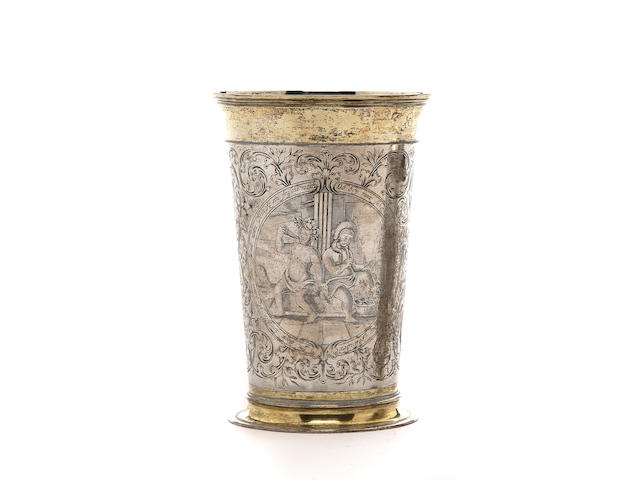 A German parcel-gilt and engraved beaker<br>Johann Sigmund Abrell, Augsburg, circa 1690-95