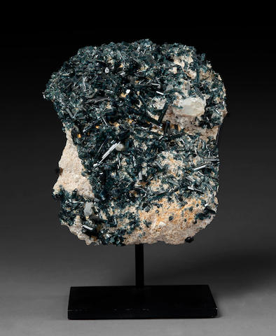 Indicolite Tourmaline with Quartz on Stand