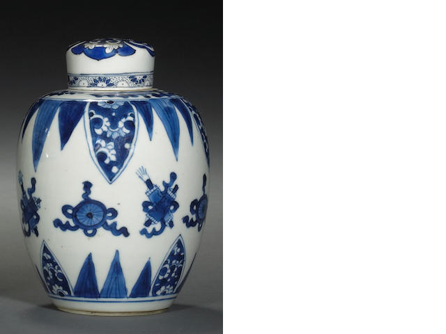 Two blue and white glazed porcelain ovoid jars Kangxi Period