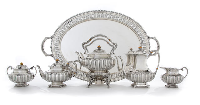 An American silver five piece tea and coffee service with matching tray Whiting & Davis Co. Inc., Plainsville, MA, early 20th century