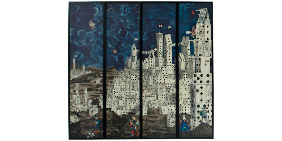 A unique Piero Fornasetti lithographically-printed and hand-painted watercolor on paper-four panel maquette Executed for the Citta Di Carte floor screen, circa 1952