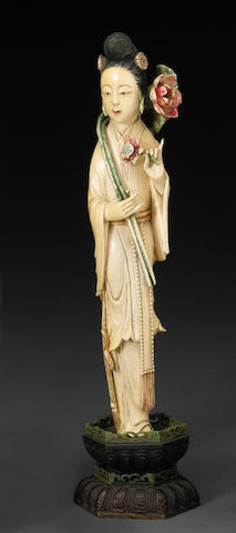 A carved ivory figure of Guanyin Republic Period