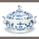 A Meissen blue orion tureen and cover
