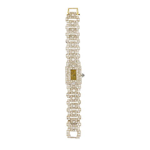 An art deco diamond bracelet wristwatch,