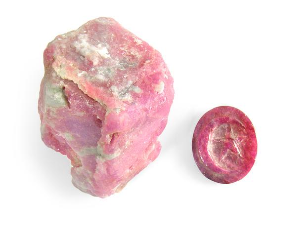Rare European Ruby Rough and Cut