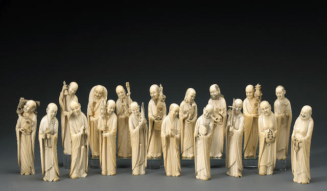 A set of eighteen carved ivory luohan  19th Century