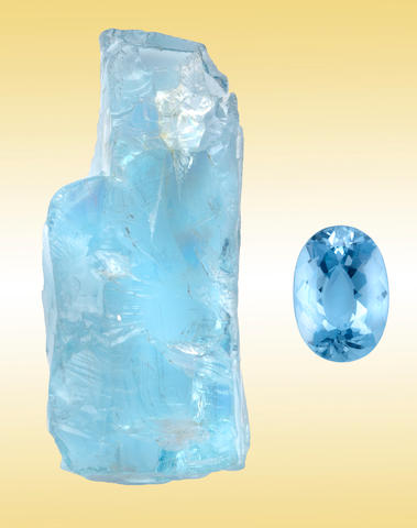 Aquamarine Rough and Cut