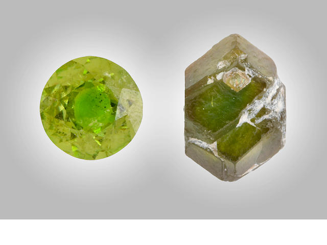 Demantoid Rough and Cut