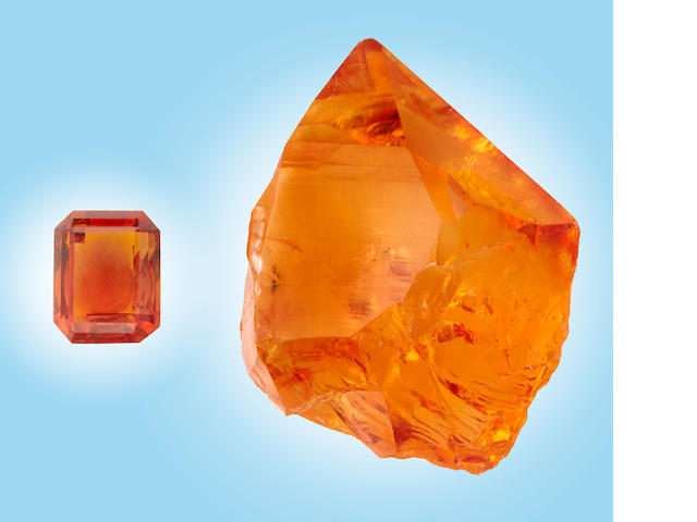 Unenhanced Citrine Rough and Cut