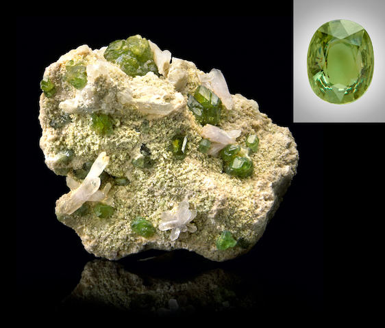 Demantoid Garnet Rough and Cut
