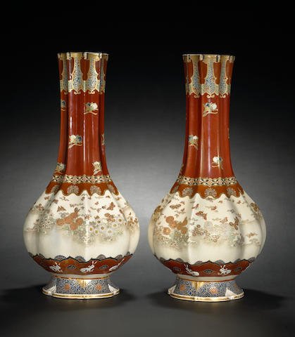 A pair of earthenware vases Meiji Period, by Taizan Yohei IX
