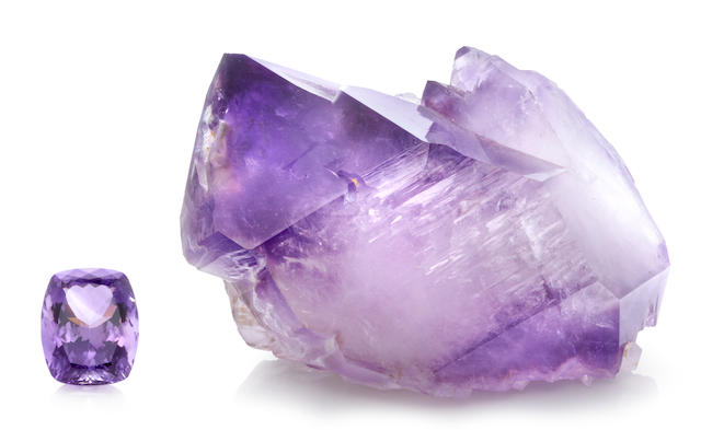 Amethyst Rough and Cut