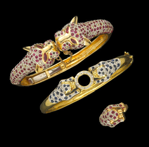A collection of gem-set, diamond and 14k gold leopard motif jewelry