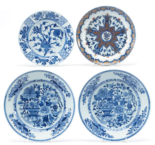 A pair of Chinese blue and white Kangxi porcelain dishes together with a blue and white porcelain plate with fan shaped reserves together with an 18th century Chinese Imari plate
