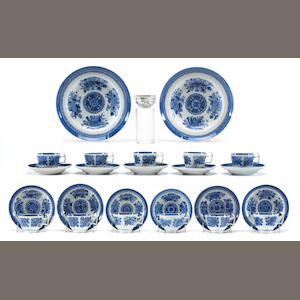 Eleven assorted Chinese export cups and saucers together with a pair of Chinese export blue and white soup dishes and a Grisaille tea bowl