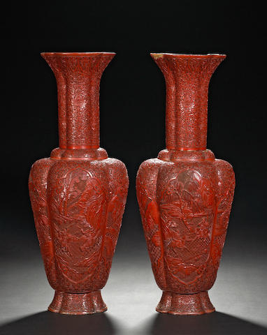 A pair of cinnabar lacquer vases with figural decoration 19th Century