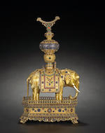 Gilt copper alloy and colored glass overlay model of an elephant 19th/20th Century