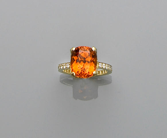 Fine Mandarin Garnet and Diamond Ring