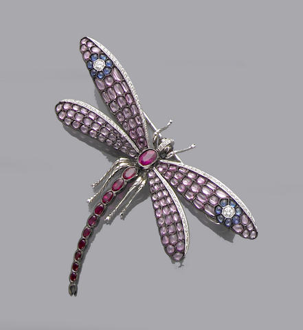 Ruby, Pink Sapphire and Diamond Dragonfly Brooch