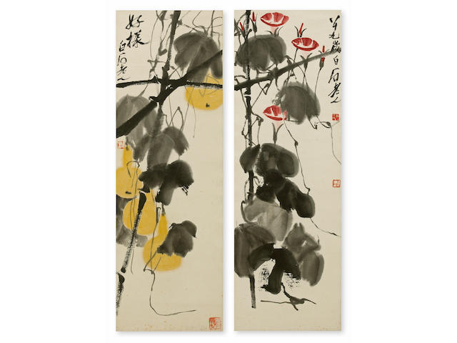 Qi Baishi (1863-1957) Morning Glories and Gourds