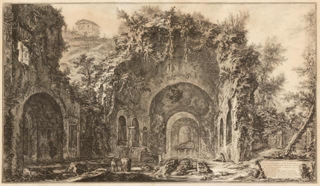 Giovanni Battista Piranesi (Italian, 1720-1778); Veduta della fonte e delle Spelonche d'Egeria..., from Vedute di Roma;