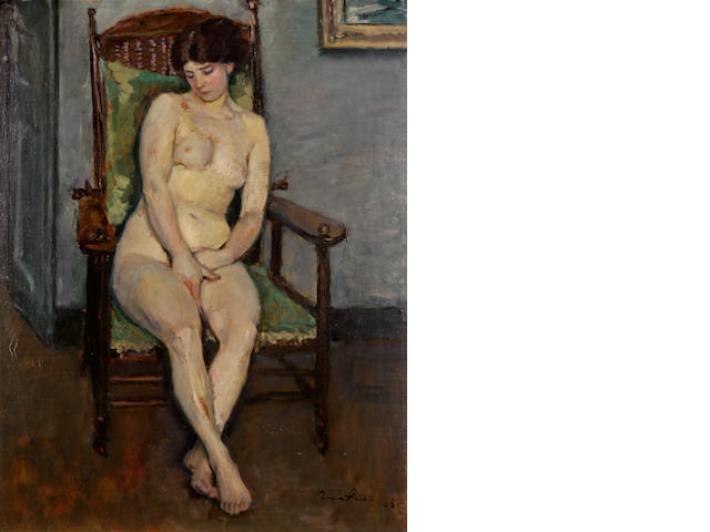 Eugen Spiro (German, 1874-1972), ? Nude seated in a chair 26 x 20 1/2in