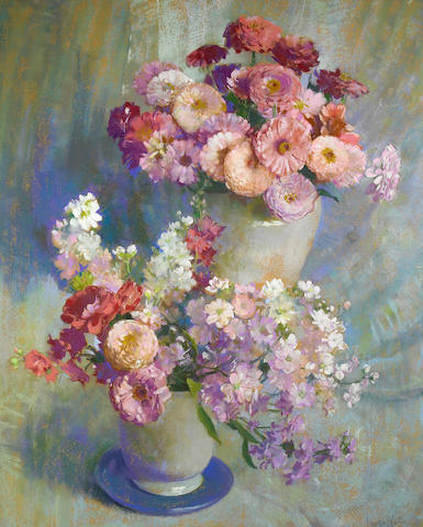 Laura Coombs Hills (American, 1859-1952) Zinnias and Stock 28 x 23in
