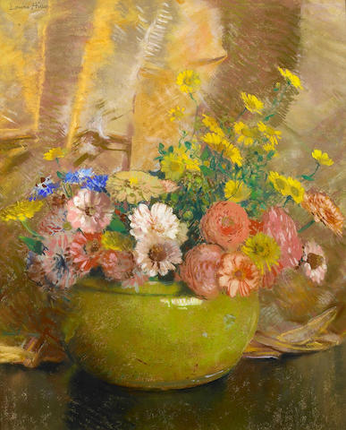 Laura Coombs Hills (American, 1859-1952) Zinnias in a Green Bowl 21 1/2 x 17 1/4in