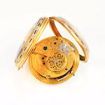 Josiah Emery. A fine quarter repeating cylinder watch movement with partly jeweled train in a contemporary enameled gilt metal caseNo. 1376, signed, Josiah Emery, Charing Cross, London, circa 1793