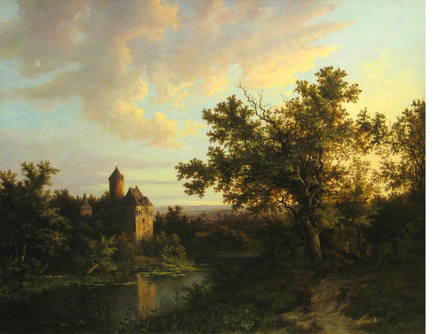German School, 19th Century A romantic landscape with a castle 24 1/2 x 31in