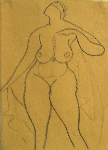 Gaston Lachaise (French/American, 1882-1935) Standing nude with drapery 9 7/8 x 7in (25 x 17.8cm)