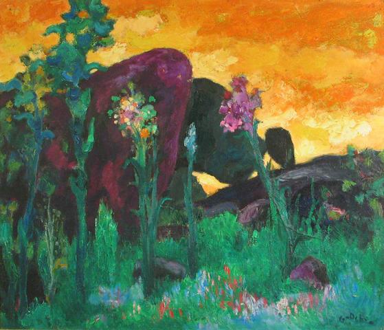 Emile Godchaux (French, 1860-1938) Floral landscape 25 1/2 x 32in