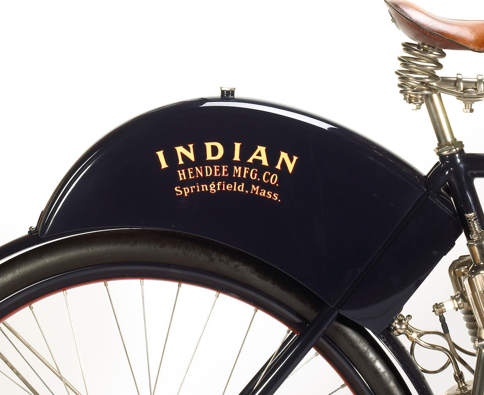 Ex-Otis Chandler, one of the earliest Indians built,1901 Indian F Head Single 'Camel Back'
