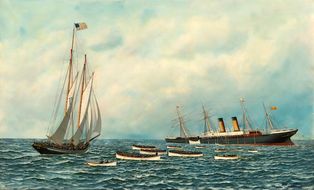 (n/a) Antonio Nicolo Gasparo  Jacobsen (American, 1850-1921) The Sinking of the S.S. Oregon 22 x 36 in. (56 x 91.5 cm.)